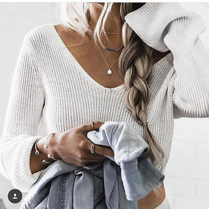 Long Sleeve V-Neck Sexy Navel Sweater