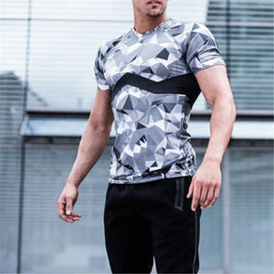 Fashion Camouflage Close-Fitting Round Neck Short Sleeve Top