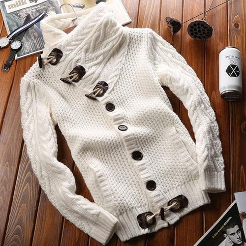 High Collar Button Close Sweater
