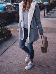 Even Hat Loose Versatile Plush Coat