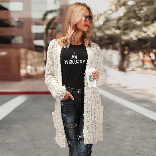 Fashion Knit Double Pockets Cardigan