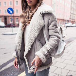 Faux Fur Collar Lapel  Zipper  Plain Coat