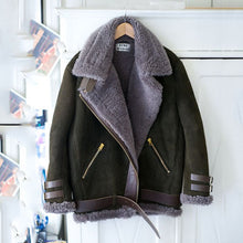 Load image into Gallery viewer, Faux Fur Collar Lapel  Zipper  Plain Coat