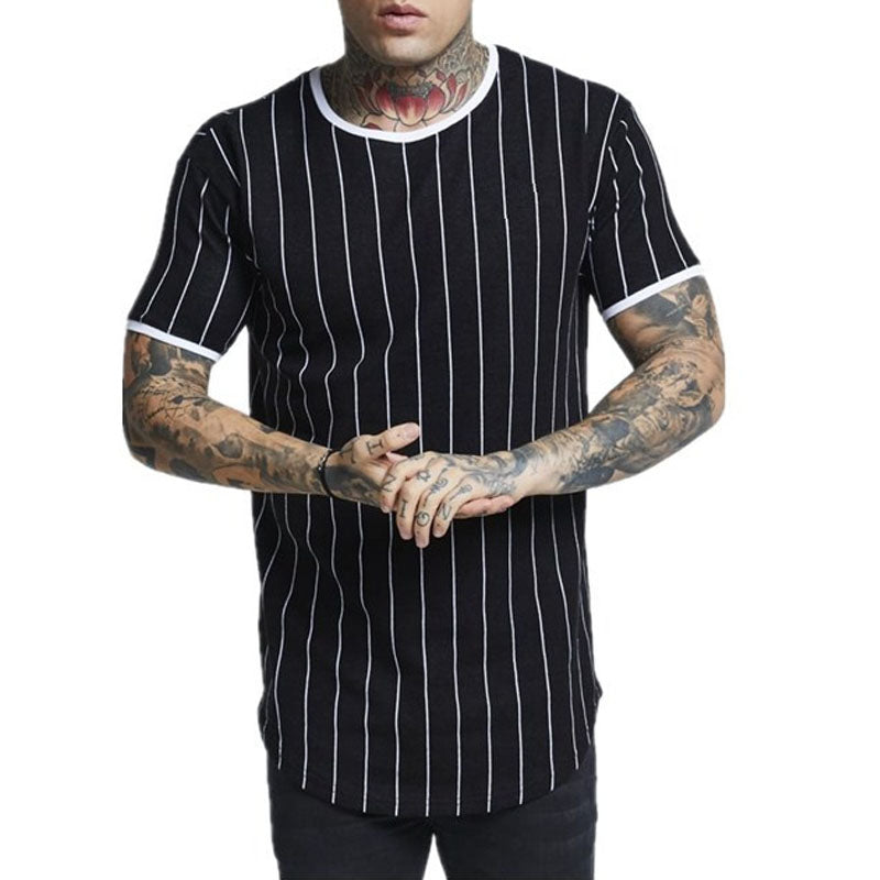 Vertical Stripes Fashion Short Sleeve T-Shirt