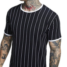 Load image into Gallery viewer, Vertical Stripes Fashion Short Sleeve T-Shirt