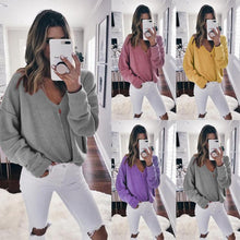Load image into Gallery viewer, V-Neck Solid Color Sweater Female