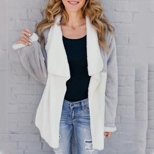 Fashion Casual Lapel Color Block Medium Length Woolen Cardigan
