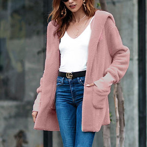 Plain Casual Hooded Cardigan