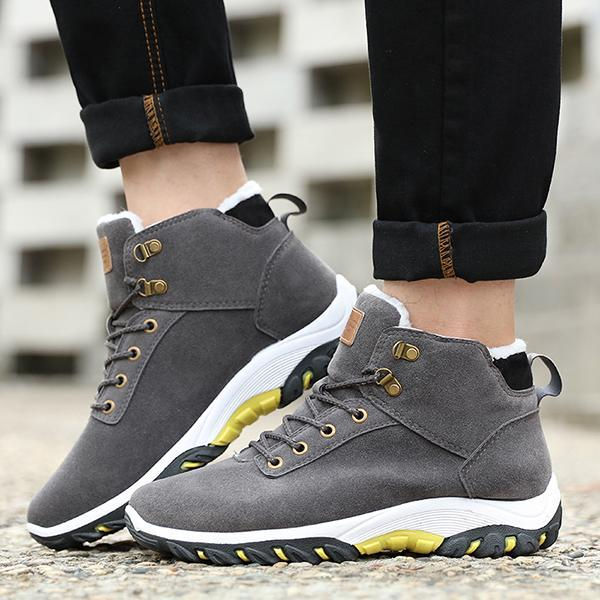Men Suede Warm Plush Lining Wear-Resistant Rubber Sole Ankle Boots