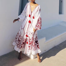 Load image into Gallery viewer, Sexy Floral V Collar Long Sleeve Fringe Vacation Maxi Dress