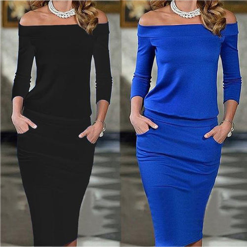 Off Shoulder Patchwork Plain Fitted Bodycon Dress