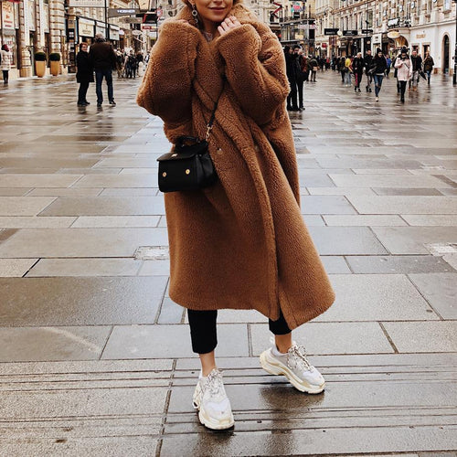 Classic Fashion Wide Lapel Long Sleeves Warm Artificial Fur Coat
