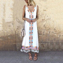 Load image into Gallery viewer, Sexy V Neck Floral Printed Tassel Sleeveless Maxi Dress
