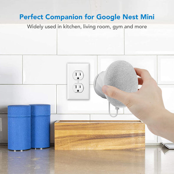 G2.2 - KIWI design Wall Mount Holder for Nest Mini by Google (2nd gen)(Light Grey)