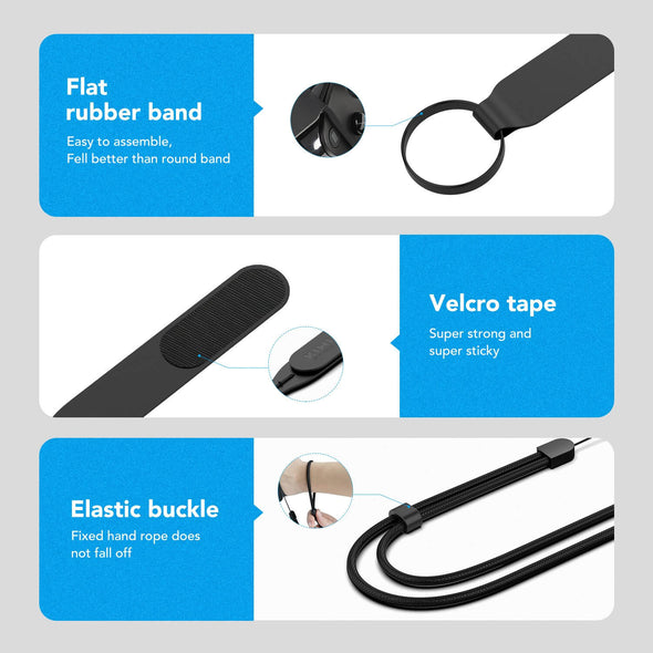 Q1.2 - KIWIdesign Knuckle Straps for Oculus Quest 1 /Rift S,with Adjustable Wrist Strap(Black,1 Pair)