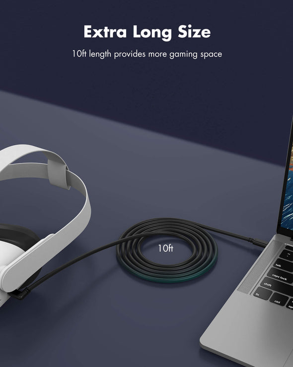 QC-6 - KIWI design Oculus Quest Link Cable 10 Feet/3 Meters, High-Speed Data Transfer Type-C to C Cable Compatible for Oculus Quest 2 and 1 to a Gaming PC