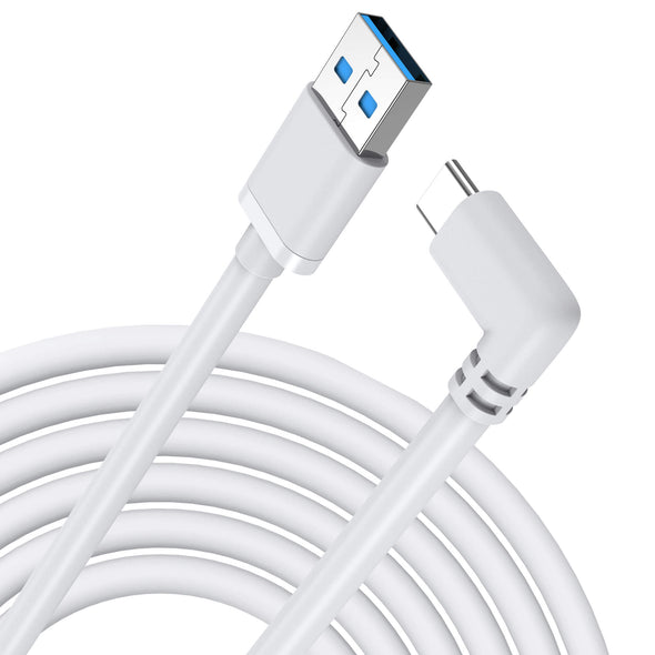QC-2 - KIWIdesign USB C Cable 10FT(3M),High Speed Data Transfer for Oculus Quest 1 & 2 Link Cable(White)