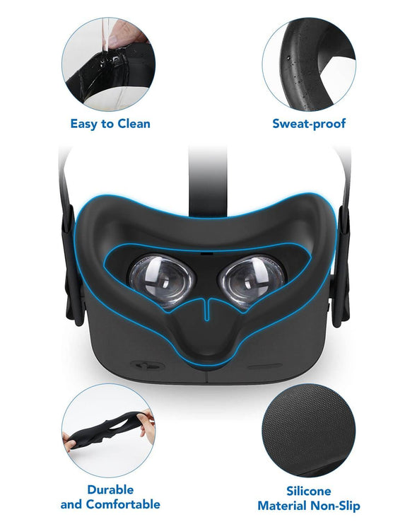 Q7+Q12 - KIWI design VR Silicone Face Cover Mask & Touch Controller Grip Cover for Oculus Quest 1 Accessories