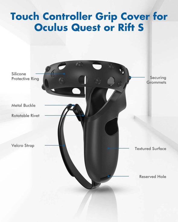 Q1-PRO+Q12-2 - KIWI design Touch Controller Grip & Silicone Protective Ring Set for Oculus Quest 1/Rift S Accessories
