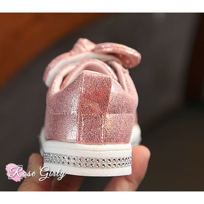 Chaussure fille rose avec strass