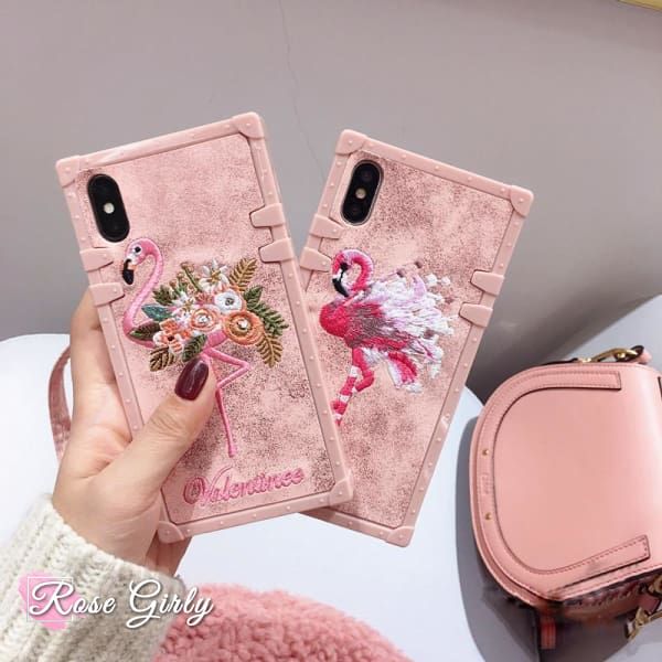 Coque iPhone X Flamant rose