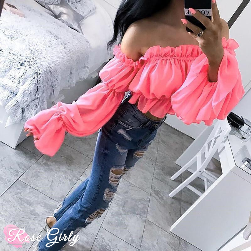 Crop Top rose flashy tendance 2019-RoseGirly