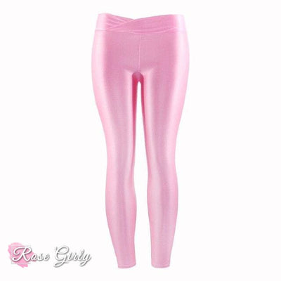 Legging rose brillant et fluorescents Push Up Fitness