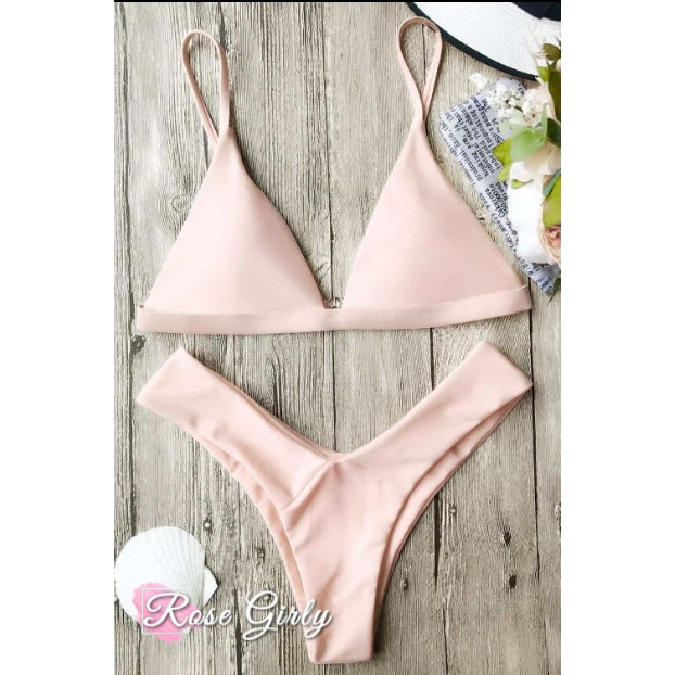 Maillot de bain Rose <br> Bikini triangle rose