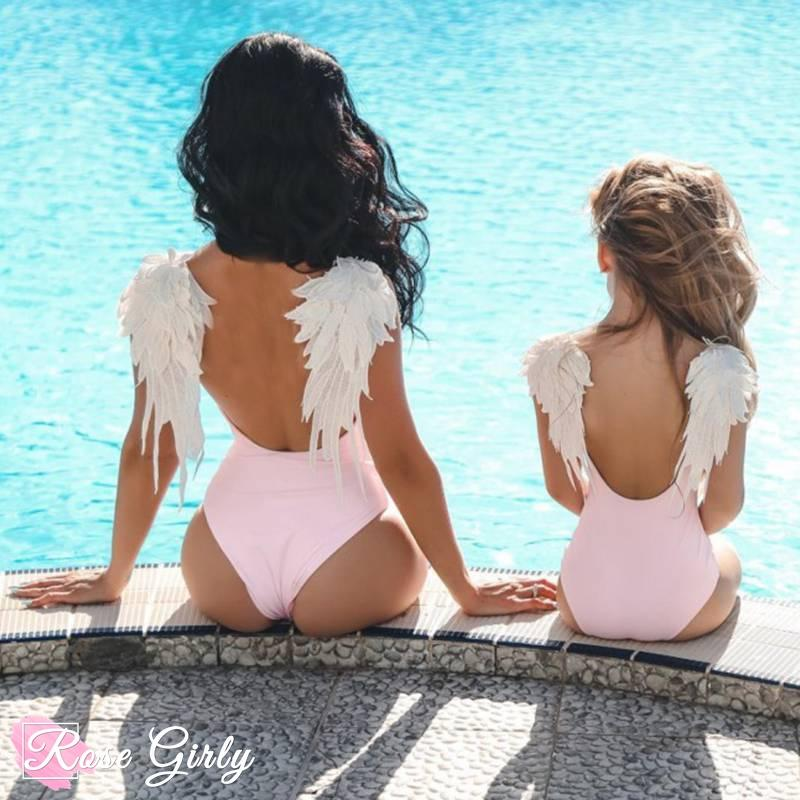 Maillot rose ailes d'ange