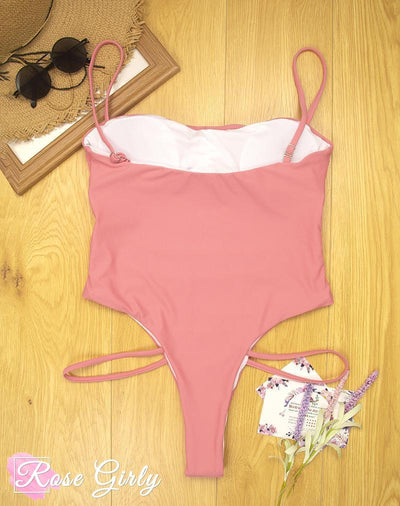 Maillot string rose