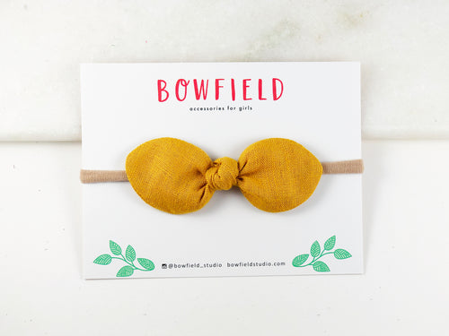 mustard medium knot hair bow