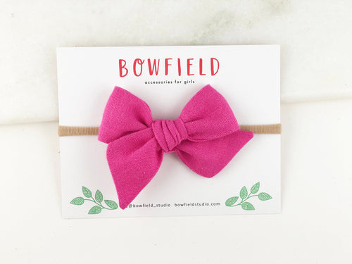 Darling Pink Linen // Mini Pinwheel Bow