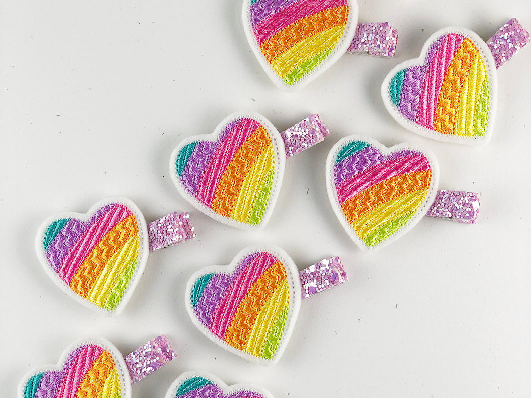 Rainbow Heart // Hair Charms