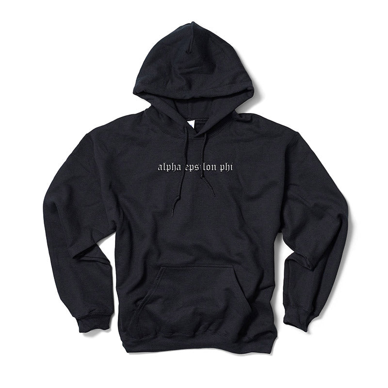 Old English Black Hoodie (Embroidered)