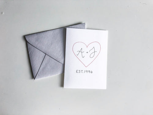 Personalized initials card