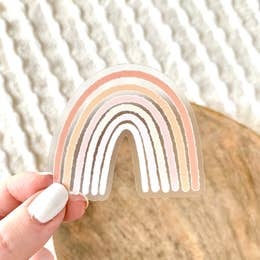 Clear Pink Rainbow Sticker
