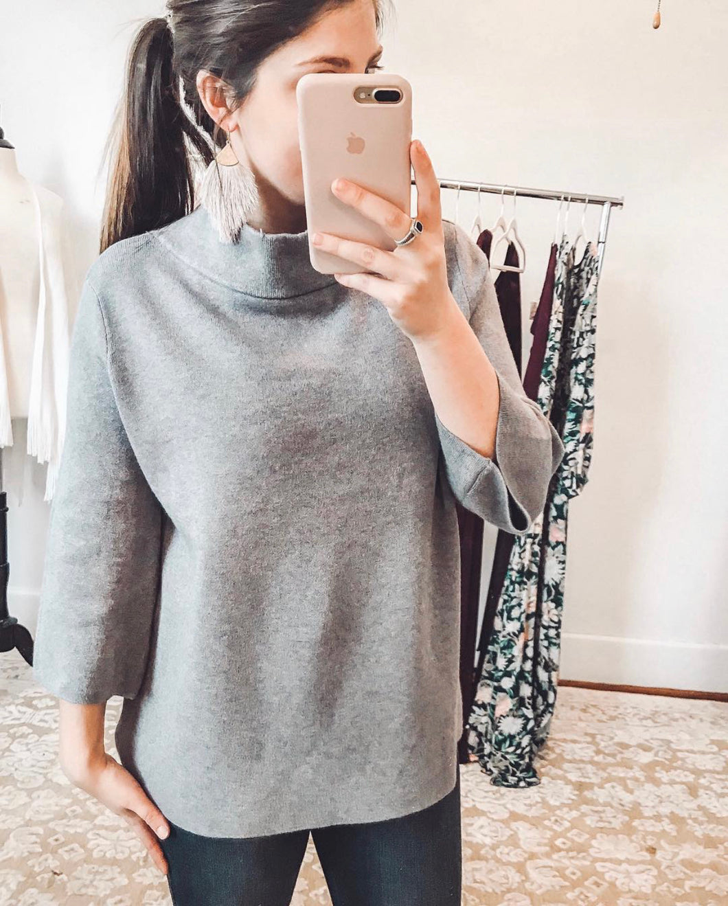Serena Mock Neck Sweater - Charcoal