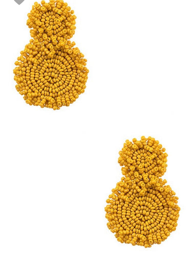 Seed Bead Circle Earrings - Mustard