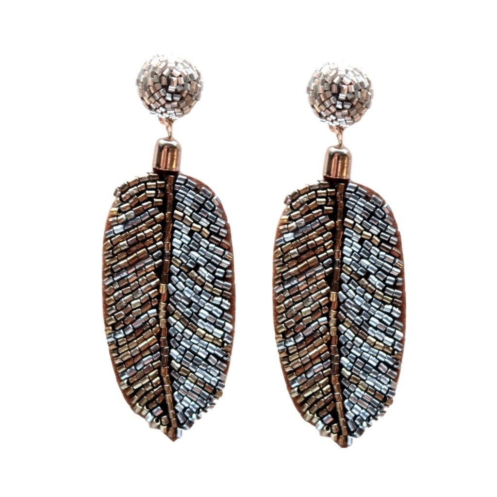 Metallic Beaded Palm Earrings