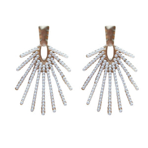 Sunburst Pearl Drop Earrings
