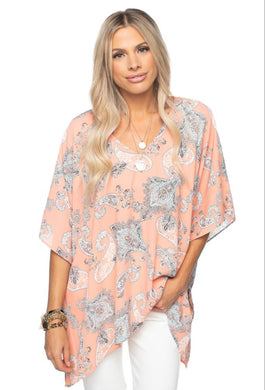 North Tunic - Peach Paisley