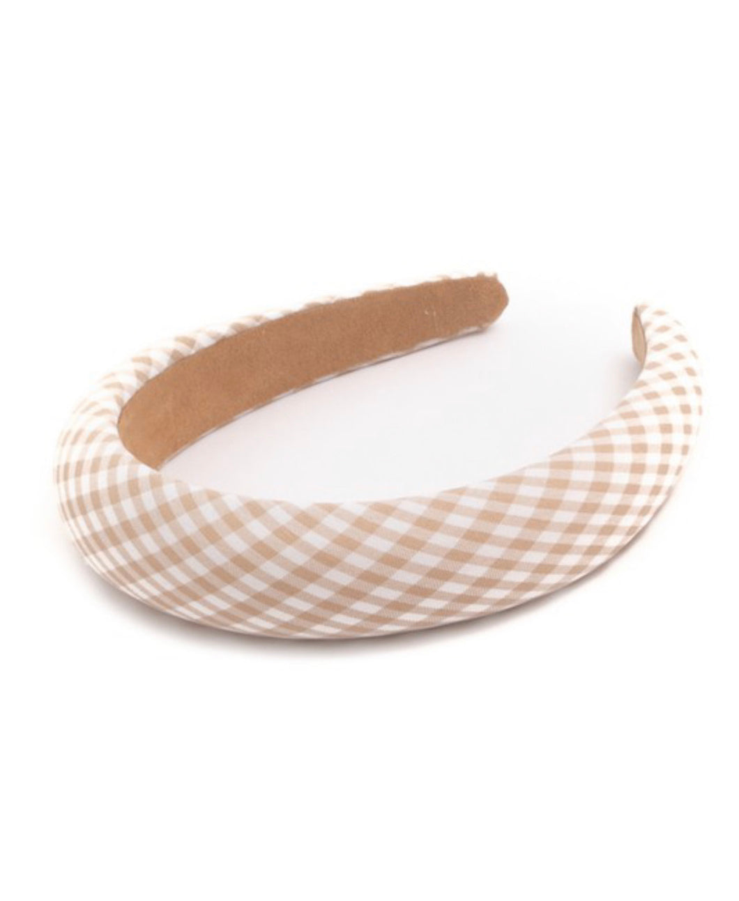 Gingham Headband - Beige