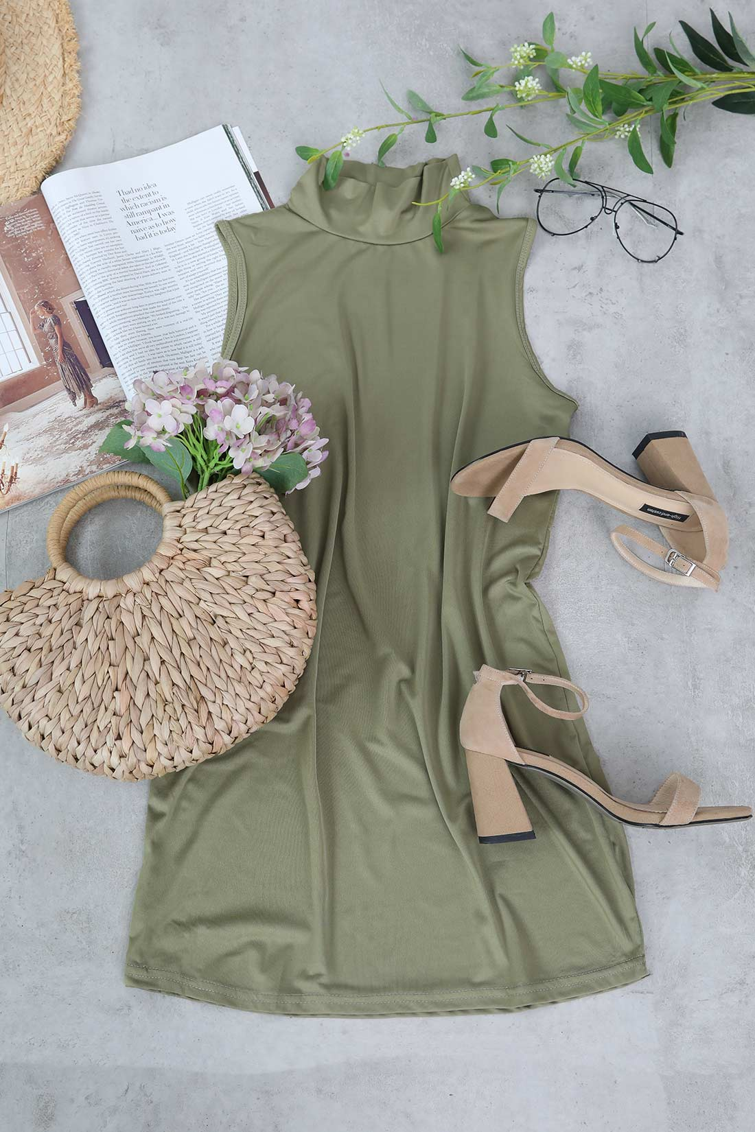 Shefn Solid Color Sleeveless Turtleneck Mini Dress