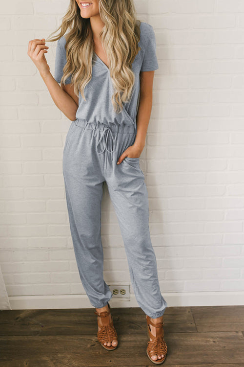 Shefn V Neck Loose Long Jumpsuits with Belt