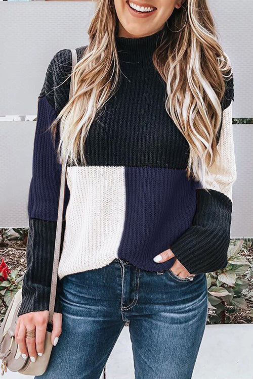 Shefn Mock Neck Colorblock Sweater