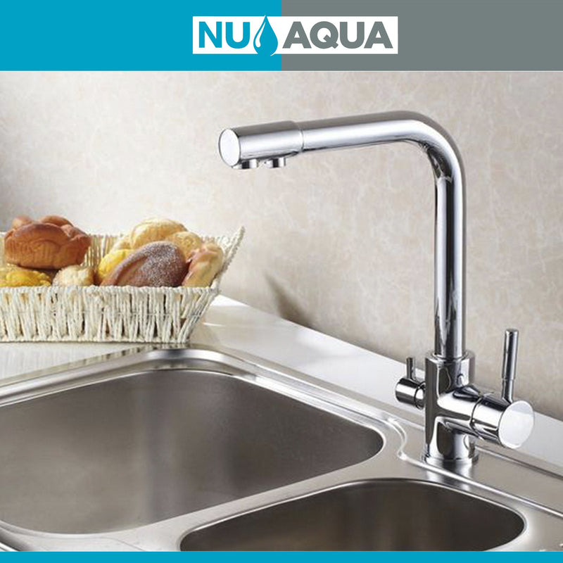 Faucets - NU Aqua 3 In 1 Kitchen Faucet Hot/Cold/RO Chrome Designer Single Headed Faucet