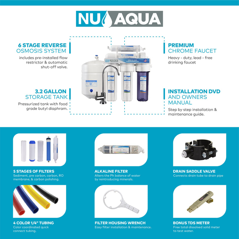 NU Aqua Platinum Series 6 Stage Alkaline 100GPD RO System With Booster Pump No Drill Faucet Installation