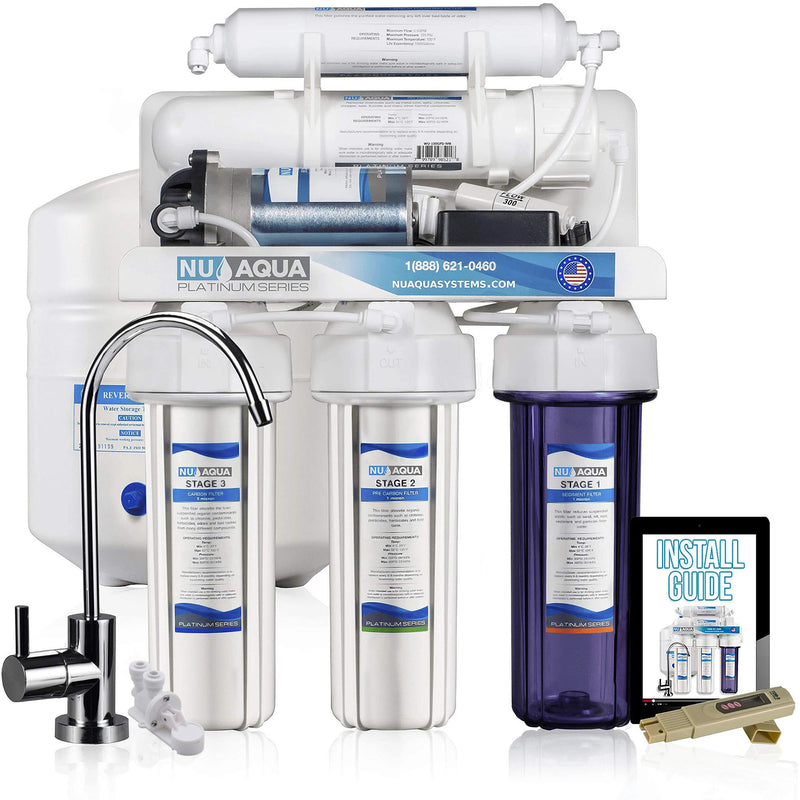 NU Aqua Platinum Series 5 Stage 100GPD RO System with Booster Pump