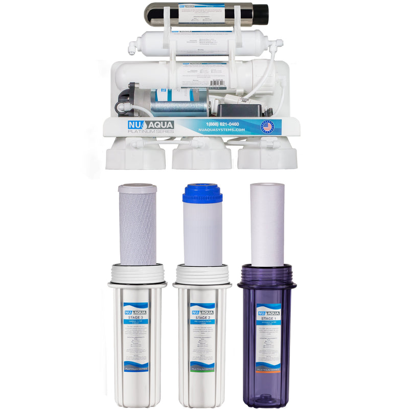 NU Aqua Platinum Series 6 Stage UV Ultraviolet 100GPD RO System with Booster Pump