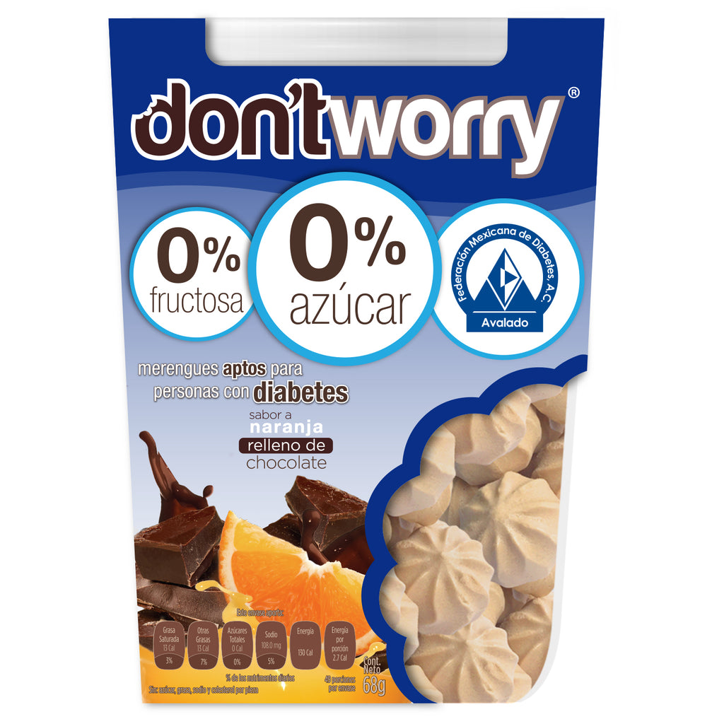 Merengue Don't Worry sin Azúcar Naranja 50g